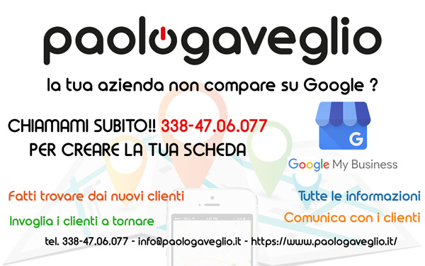 Crea la tua SCHEDA GOOGLE MY BUSINESS - 338-47.06.077